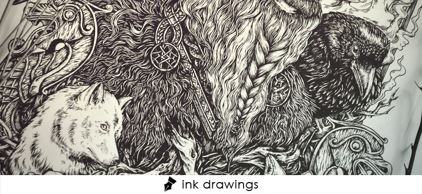 Odin ink drawing norse mythology theoretical part