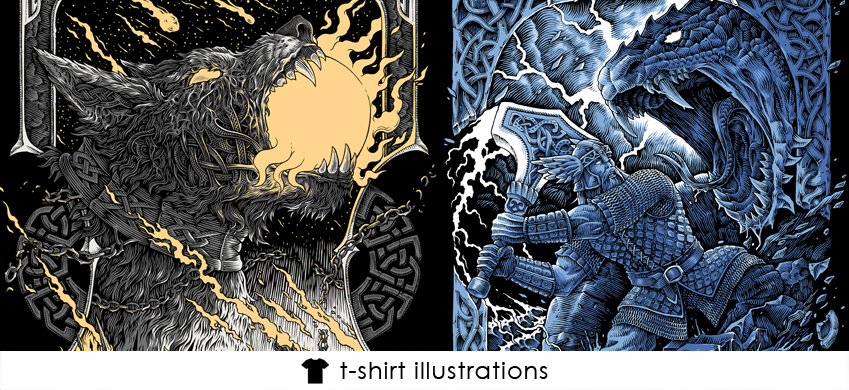 Tshirt design vikings thor norse mythology illustrations theoretical part