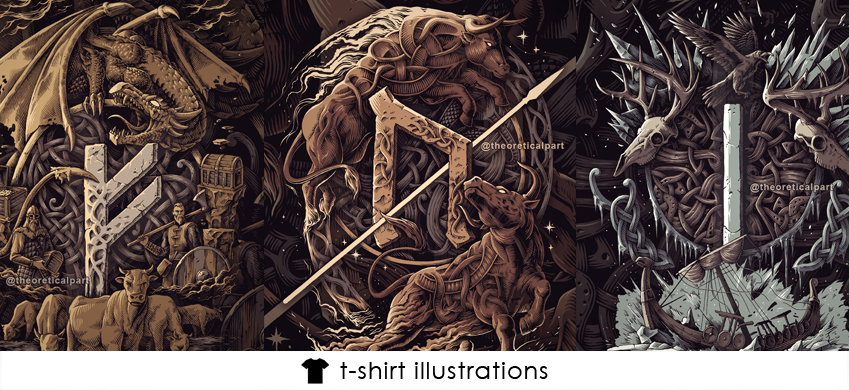 Tshirt design vikings runes norse mythology illustrations ink drawing theoretical part artists
